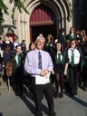Outside the Cathedral - Mr Walsh enjoys the sunshine!