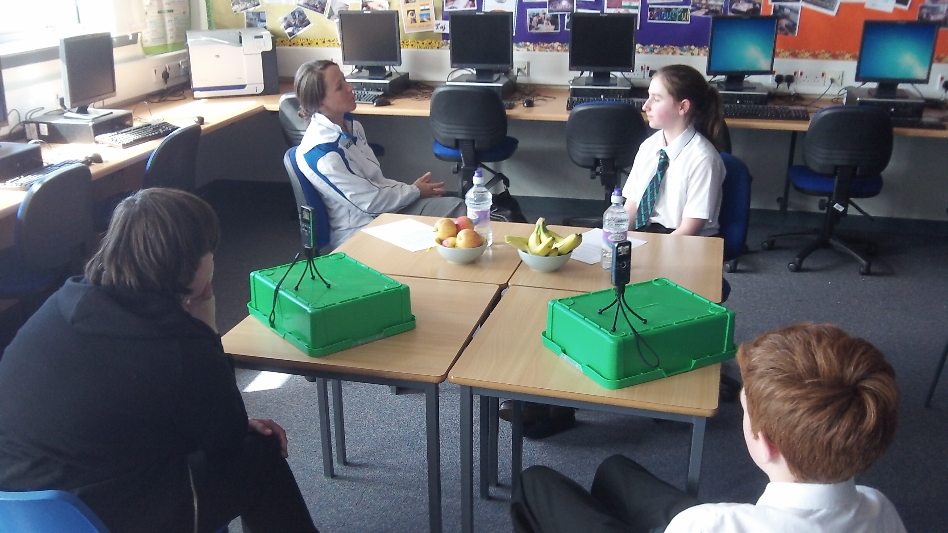 Digital reporters Cari, DJ and Evan record an interview with Local Scottish Commonwealth Games Hockey player Vikki Bunce.