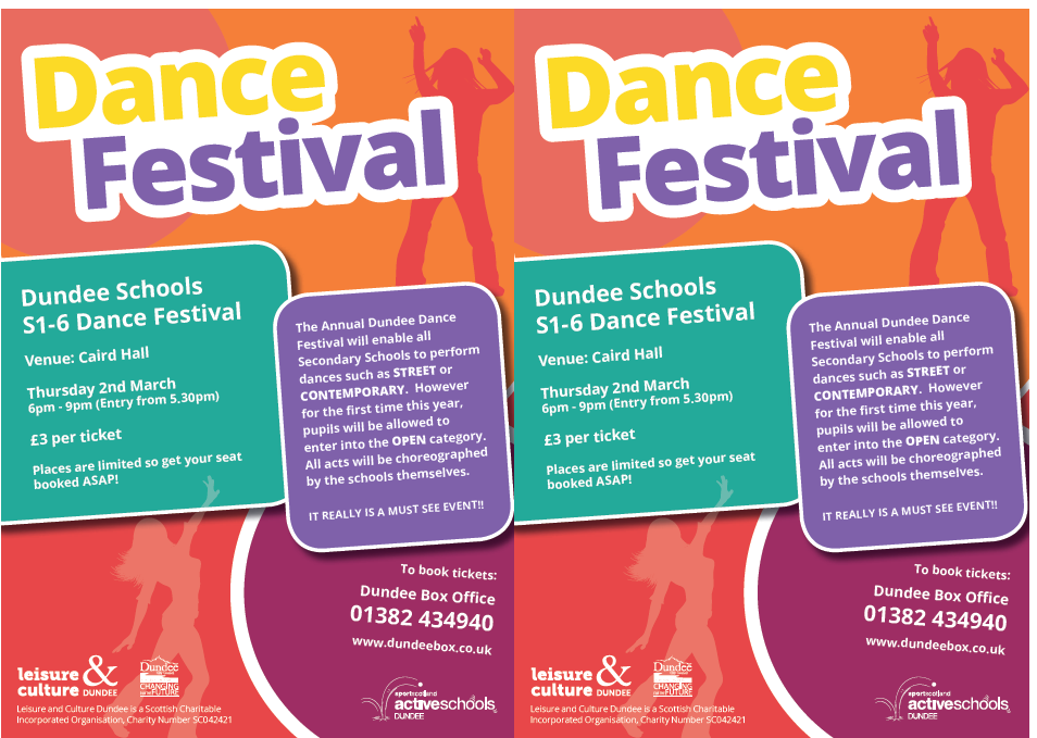 DUNDEE SCHOOLS' DANCE FESTIVAL -  2 MARCH, 6 TO 9 PM
